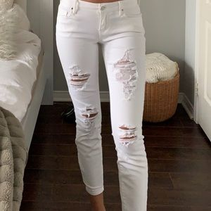 Distressed white jeans from PacSun
